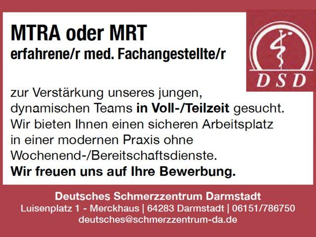 Stellenangebot: MTRA oder MRT erfahrene/r med. Fachangestellte/r