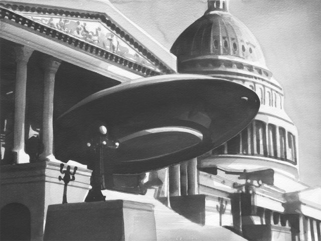 Radenko Milak, Earth vs. The flying Saucers (1956), Aquarell 36x50 cm