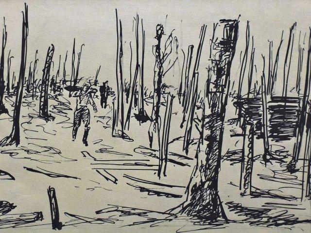 Karl Scheld, Schlachtfeld, Tusche, 1917